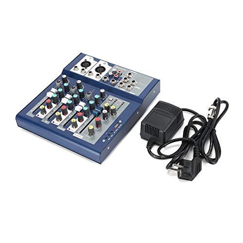 F-4 4-Kanal-EU-Stecker 230V Live-Mixing Studio Audio Sound-Konsole Netzwerk Anchor Tragbare Mischvorrichtung Vocal Effektprozessor (Farbe: blau und schwarz)