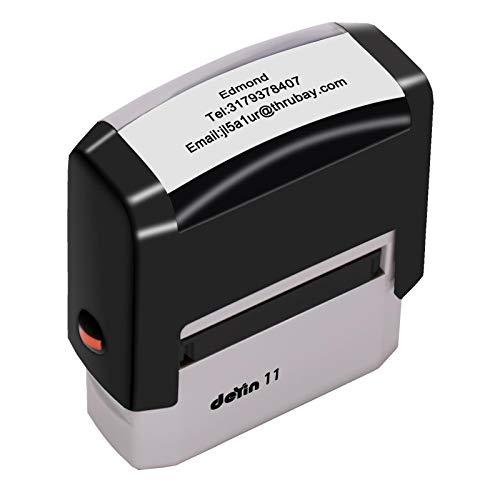 Timbro Personalizzato,Timbro Personalizzabile,38x14mm, fino a 3 linee, timbri in gomma per indirizzo, affari, creazione di carte