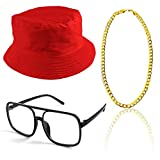 Beelittle 80s/90s Hip Hop Costume Kit Cool Rapper Outfits,Bucket Hat Sunglasses Gold Plated Chain (E)