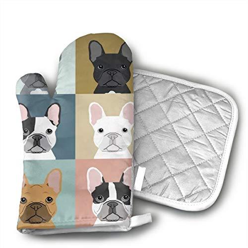 French Bulldogs Dog Oven Mitts - Pot Holders - Decor for The Kitchen - Potholder Oven Mitt Set (2 Piece) Includes 1 Potholders 1 Oven Mitts - Kitchen Decor