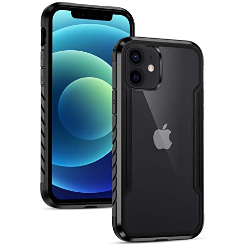 Dirrelo Schutzhülle Kompatibel mit iPhone 12/iPhone 12 Pro Hülle 6.1 Zoll 2020, Transparent Stoßfest Handyhülle Bumper Anti-Scratch Hülle Aluminium Rahmen, TPU Polycarbonat Hybrid Gehäuse-Schwarz