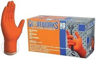Nitrile Gloves, XL, Textured, Orange, PK100