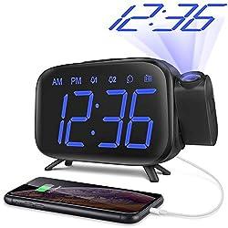 ELEHOT Projection Alarm Clock Digital Alarm LED Display Portable for Charging Large Digital Light with FM Radio Alarm & Snooze
