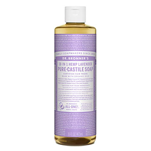 Dr. Bronner's - Pure-Castile Liquid Soap (Lavender, 16 oz) - Made with Organic Oils, 18-in-1 Uses: Face, Body, Hair, Laundry, Pets & Dishes, Concentrated, Vegan, Non-GMO
