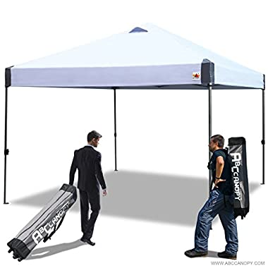 ABCCANOPY 10x10 Outdoor Pop up Portable Shade Instant Folding Better Air Circulation Canopy with Wheeled Backpack Bag (White)