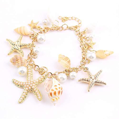 WEFH Fashion Ocean Multi Starfish Sea Star Conch Shell Pearl Chain Pulsera de Playa, Oro y Perla