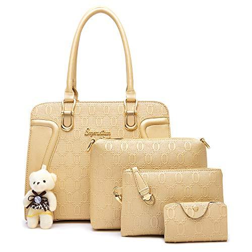 Soperwillton Handbag for Women Tote Bag Shoulder Bags Satchel 4pcs Purse Set