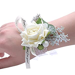 MOJUN Wedding Bridal Bridesmaid Wrist Flower Corsage Wedding Planner Wrist Corsage Hand Flower