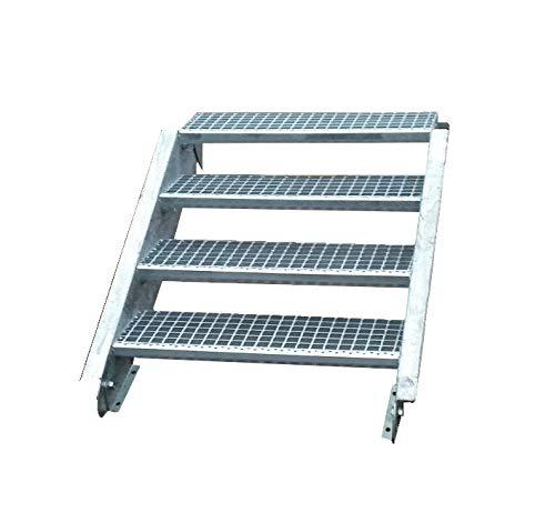 Stahltreppe Industrietreppe Aussentreppe Treppe 4 Stufen/Stufenbreite 60cm / Geschosshöhe variabel 55-85cm verzinkt Gitterrosttreppenstufen Tiefe 24cm
