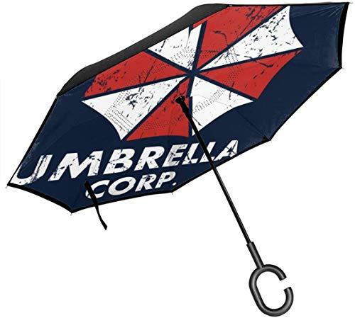 Umbrella Corp Resident Evil Paraguas invertido de Doble Capa para el automóvil Reversa Plegable Al revés Manos en Forma de C - Ligero y a Prueba de Viento y Ndash;