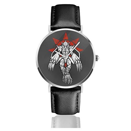 Reloj unisex Dig-imon Wargreymon Grafitti con escudo de coraje, reloj de cuarzo y correa de cuero negro para hombres y mujeres, colección joven, regalo