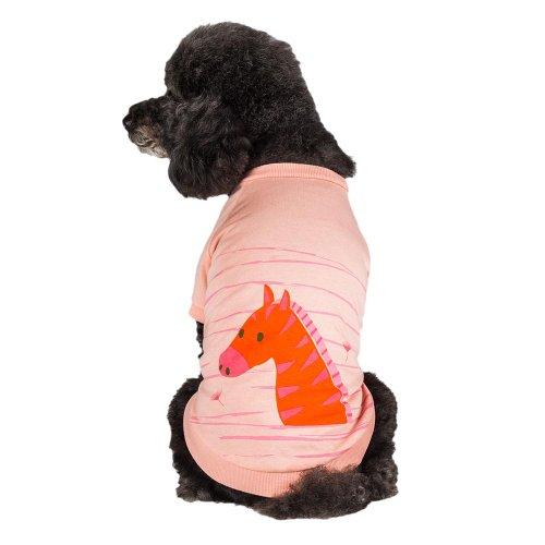 Blueberry Pet 25cm Rückenlänge Hundebekleidung T-Shirt Kleid Hemd Henry das Zebra Baumwolle Kleines Hundeshirt in Hell-Apricot, S