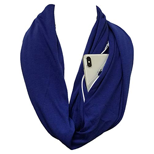 Price comparison product image Shop Pop Fashion - Solid Color Zipper Pocket Infinity - Use as a Face and Mouth Covering Device (Royal Blue)