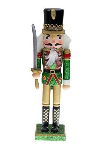 Clever Creations - Traditioneller Nussknacker - Festliche Weihnachtsdeko - perfekt für Regale & Tische - 100% Holz - 04-Soldat mit Schwert