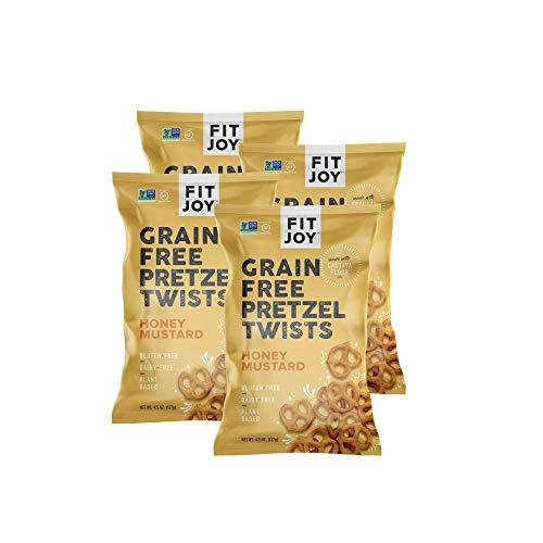 FitJoy Gluten Free Pretzels, Honey Mustard Twists, Grain Free, 4.5 Ounce Bags (4 Pack)