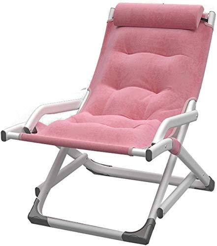 HLL Stühle, Freizeit-Klappstuhl, Tragbarer Student-Sessel Balkon Outdoor Sun-Liege Einstellbar Rückenlehne Angelstuhl 81 X 50 cm,Rosa,81 * 50 Cm.