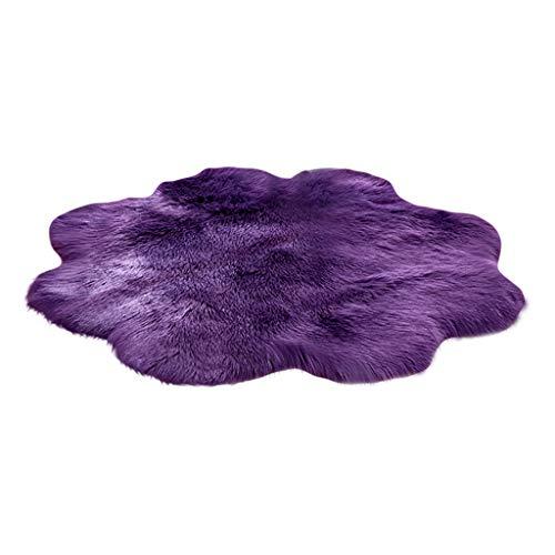 Mamum Tapis de Canapé Coussin, 90x90CM Peau de Mouton synthétique,Cozy Sensation comme véritable Laine Tapis en Fourrure synthétique (Violet)