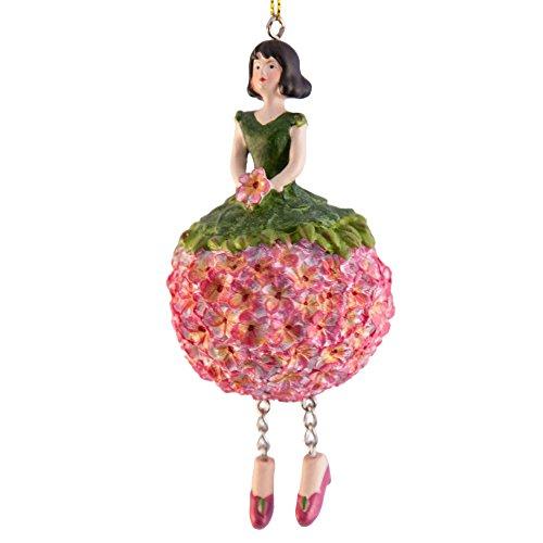 ROSEMARIE SCHULZ Heidelberg Dekofigur Geranienmädchen mit Libelle Rosa-Pink zum Hängen Flower Fairy Figur Dekofigur Blumenfigur Skulptur Blumenkinder