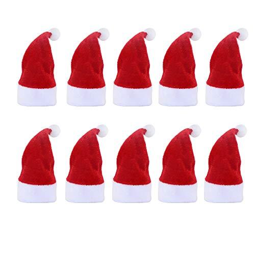 10 Pieces Mini Santa Hat Cup Bottles Cover Christmas Decor Home Xmas Gift Present Decoration