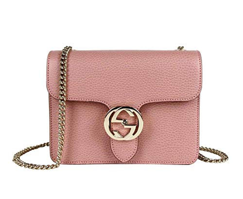 Gucci Women's Soft Pink Leather Interlocking G Small Chain Crossbody Bag 510304 5806