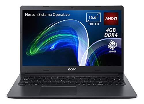 """Acer Extensa 15 EX215-22-A67E Pc Portatile, Notebook con Processore AMD 3020e, Ram 4 GB DDR4, 256 GB PCIe NVMe SSD, Display 15.6"""" HD LCD, Scheda grafica AMD Radeon, Nessun Sistema Operativo, Nero"""