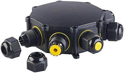 revolt Kabelverbindungsbox: Outdoor-Kabel-Verbindungsbox, 6-Fach, für Kabel mit Ø 4-14 mm, IP68 (Gartensteckdose IP68)