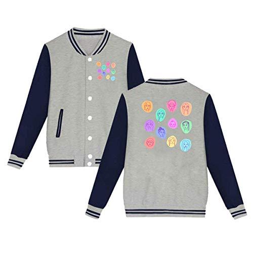 H.X Shop Fashion Herren & Damen & Mädchen Unisex College Jacke Baseball Uniform Jacke Sport Mantel Gr. Medium, grau