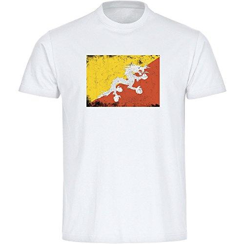 Multifanshop T-Shirt Fahne Retro Bhutan weiß Herren Gr. S bis 3XL - Fanartikel Fanshop Fußball Fanshirt Trikot, Größe:XXL