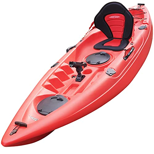 Conwy Kayak Menai Single Person One Man Sit on Top Kayak includes Padded Seat, Fishing Rod Holder and Two Piece Floating Paddle