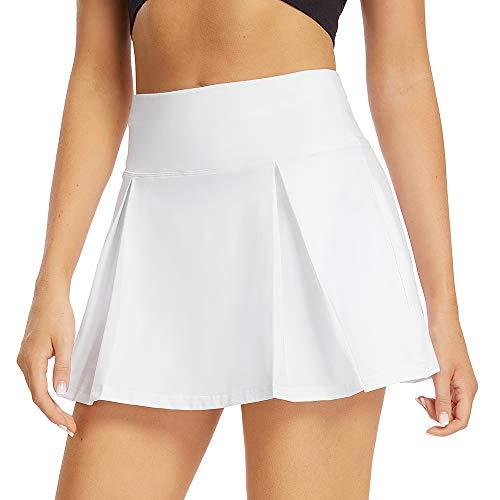 pudu Damen Tennisrock Sportrock Golfrock Hosenrock Minirock mit Innenhose & Taschen(012,White,m)