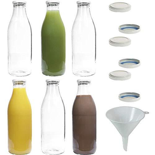 mikken 6X Glasflasche 1 Liter mit 12x PVC freiem Schraubverschluss inkl. Trichter