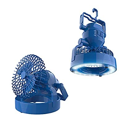 Wakeman 2 in 1 Portable Camping Lantern with Ceiling Fan- Weather Resistant 18 LED Light Outdoors (for Tents, Hiking, Power Outages and More)(Blue)