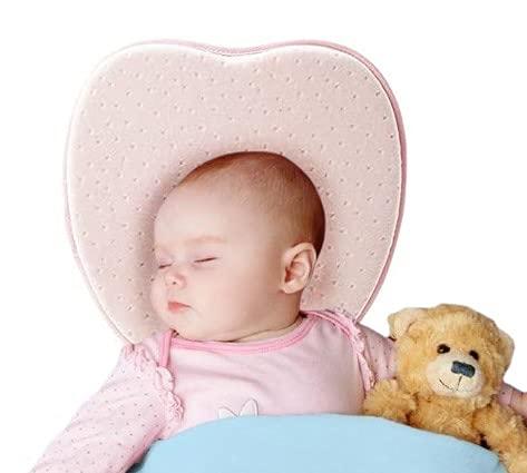 Cuscino Neonato Baby Pillow Plagiocefalia (Rosa) Sfoderabile (con due Federe) per aiutare a prevenire e trattare la Testa Piatta in Memory Foam
