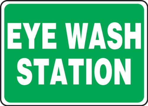 Accuform MFSD987XT Dura-Plastic Sign, Legend'Eye Wash Station', 7' Length x 10' width x 0.060' Thickness, White On green, 7' Height, 10' Wide, 7' Length, Dura-Plastic, 7' x 10'