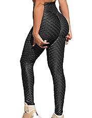 RIOJOY Kvinnor vaxkaka anti-celluliter våffelleggings, hög midja yogabyxor bubbelstruktur, skuren/rynkad rumpa lyft löpning tights