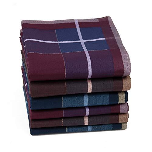 HOULIFE Herren Taschentücher aus Reiner Baumwolle 43x43cm 3 Farben für Alltagsgebrauch 6/12 Stücke Weihnachtsgeschenke