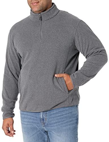Amazon Essentials Quarter-Zip Polar Fleece Jacket Outerwear-Jackets, Carbón Heather, US L (EU L)