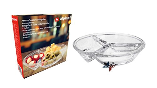 Glass Snack Dish Olive DIsh Dipping Serving Tray Appetiser Table Plate Divided