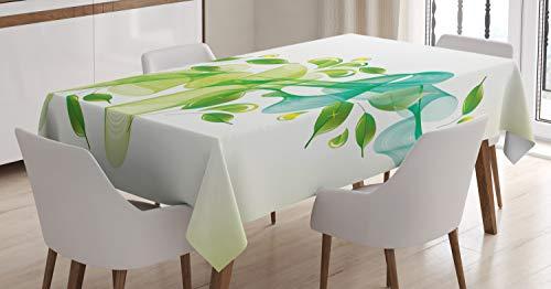 ABAKUHAUS Resumen Mantele, Diseño Floral Abstracto, Resistente al Agua Apto Uso Exterior e Interior No Destiñen, 140 x 200 cm, Verde Amarillo y Azul