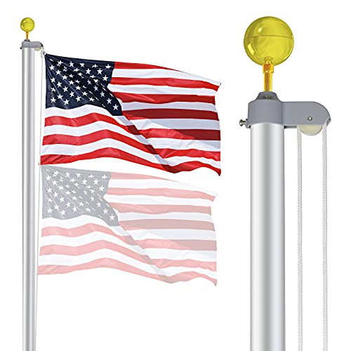 ZENY Sectional Flag Pole Kit American Flag & Ball...