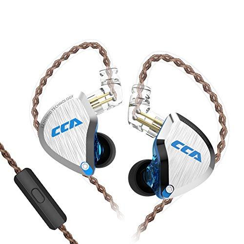 CCA C12 カナル型 イヤホン 高音質 ハイブリッド型イヤホン 脱着式 リケーブル可能 イヤフォン 2PIN 3.5mm 5BA+1DD  6ドライバ 鏡面仕上げ PC樹脂筐体 フィット感 (ブルー・マイク付き)