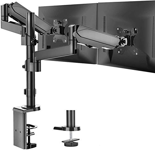 Dual Arm Monitor Stand Full Motion Adjustable Gas Spring Monitor Mount Riser with C Clamp/Grommet Base for Two 17 to 32 inch LCD Computer Screens Each Arm Holds up to 176lbs
