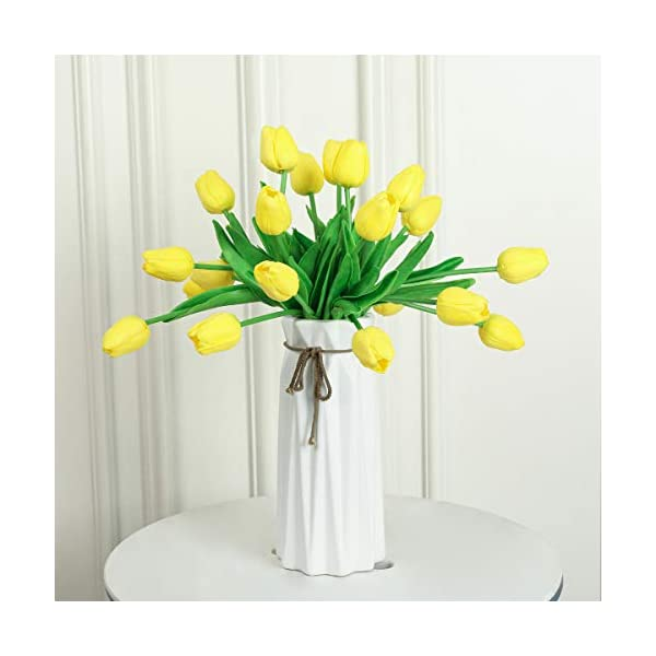 Kisflower 30Pcs Flores Artificiales de tulipán Ramo de Tulipanes Falsos Flores Reales para decoración (Amarillo)