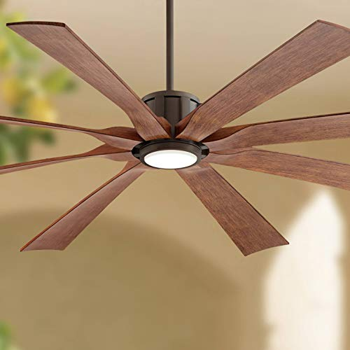 "70"" The Defender Outdoor Ceiling Fan with Light LED Dimmable Remote Control Oil Rubbed Bronze Koa Blades Damp Rated for Patio Porch - Possini Euro Design"
