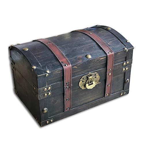 Cofres Cajas Madera Vintage, Estilo Antiguo Tesoro con Cerradura Caja De Almacenamiento Madera Accesorios Decoracion Cafe Restaurante, 2 Estilos GGYMEI (Color : A, Size : 32x22x22cm)