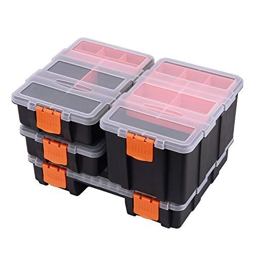 CASOMAN Hardware & Parts Organizers, 4 Piece Set Toolbox, Compartment Small Parts Organizer, Versatile and Durable Storage Tool Box
