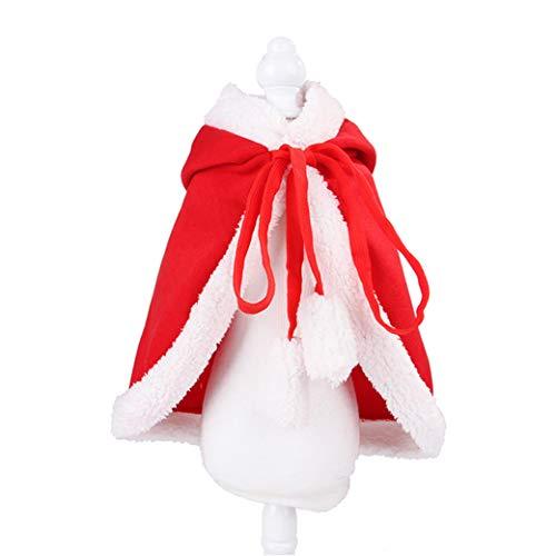 FSXZM Katze Weihnachtsmantel Kostüm Haustiere Umhang Welpen Kleidung Mantel für niedliche Kätzchen Welpen Kap Kleidung für Weihnachtsfeier,L.