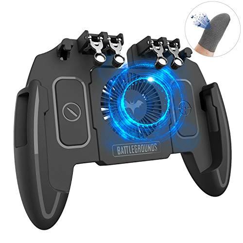 【6本指】荒野行動 PUBG Mobile コントローラー 6本指操作可能 冷却ファン付き 高感度 射撃ボタン ゲームコントローラー 一体式 引き金式 クリック感 手触り改良 優れたゲーム体験 各種ゲーム対応 指サック2個入り