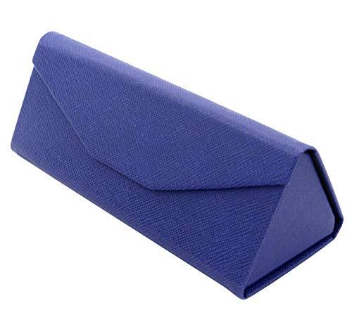 TBOC Funda Plegable Gafas de Sol - Estuche [Azul] Rígido [Triangular] con [Cierre Magnético] y Forro Interior Bolso Mochila Coche Guardar Gafas de Ver Lectura Grandes Pequeñas para Hombre Mujer Niño