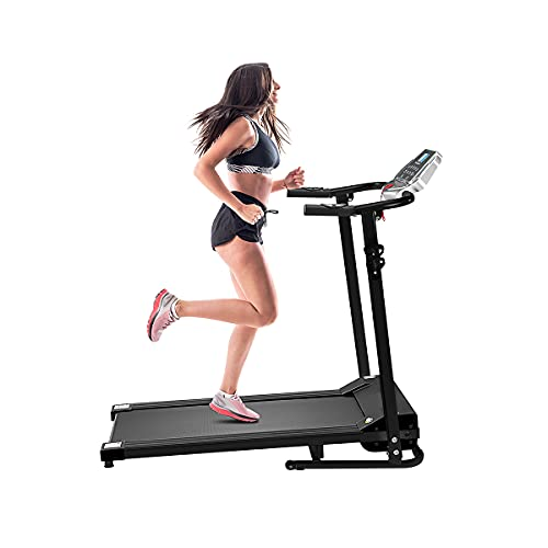 BESPORTBLE Folding Electric Treadmill,1.5HP Foldable Motorized Treadmills for Home, Heart Rate,Calories & LED Display, Walking Running Jogging Treadmill, Electric Treadmill for Cardio (UK PLUG)